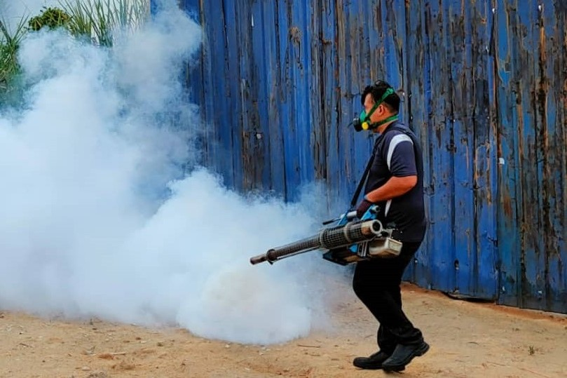 protective-equipment-sanitized-with-spray-gun
